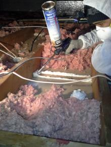 Spray foam insulation, air sealing, caulking, fiberglass insulation